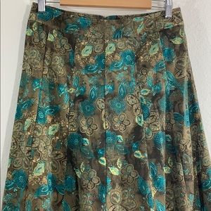 Christopher & Banks Skirts - Vintage 70s inspired suede paisley pleated skirt